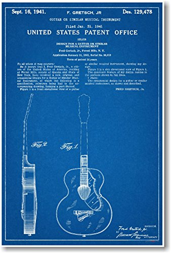 Gretsch Guitar Patent - NEW Famous Invention Blueprint Poster