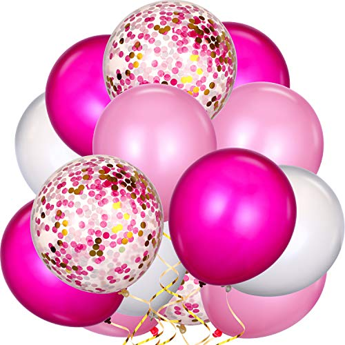 TecUnite 80 Pieces Latex Balloons Confetti Balloons Colorful Party Balloons for Christmas Valentine's Day St. Patrick's Day, 12 inch (Pink, White, Rose Red)]()