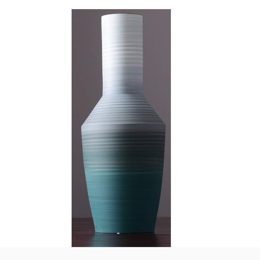 HBJP 新しい中国風のシンプルなセラミック花瓶家の装飾リビングルームドライフラワー装飾飾りダークグリーン 花瓶 (サイズ さいず : E48cm) B07SDNM3ZF  E48cm