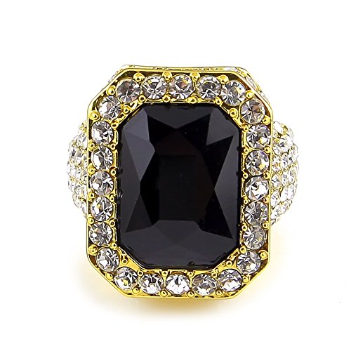 HongBoom Hot Hip Hop Rings 18K Gold Silver Plated CZ CRYSTAL Fully Iced-Out CUBAN Black Ruby Ring (Gold/US size 9)