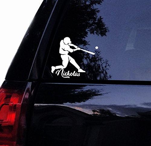 "Tshirt Rocket Baseball Player Decal - Personalized Name Car Decal, Laptop Decal, Window Sticker (5"", White)"