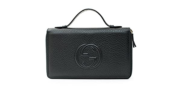 Amazon.com  Gucci Black Travel Double zip Around Wallet Leather top Bag  Handbag Purse Italy New  Shoes 55372d3d00b41