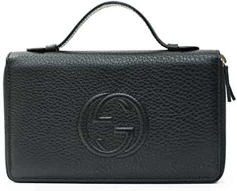 ae5c87f650e1 Gucci Black Travel Double zip Around Wallet Leather top Bag Handbag Purse  Italy New
