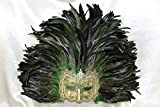 Ladies Deluxe Half Face Venetian Carnival Masquerade Masks with Feathers (Gold + Green Feathers)