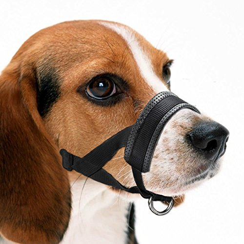 Dog Muzzle, Adjustable Loop with Soft Padding, Nylon Black, L & XL