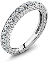 925 Sterling Silver White VS Created Sapphire Women's Anniversary Wedding Band Ring (0.48 Cttw, Available in size 5, 6, 7, 8, 9)