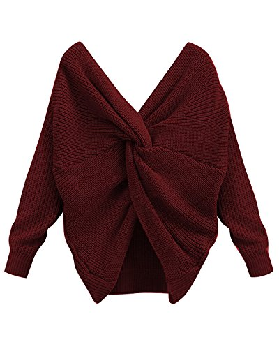 BONESUN Casual Knitted Sweaters Long Sleeve Sexy V-Neck Cross Jumper Outwear Wine Red S
