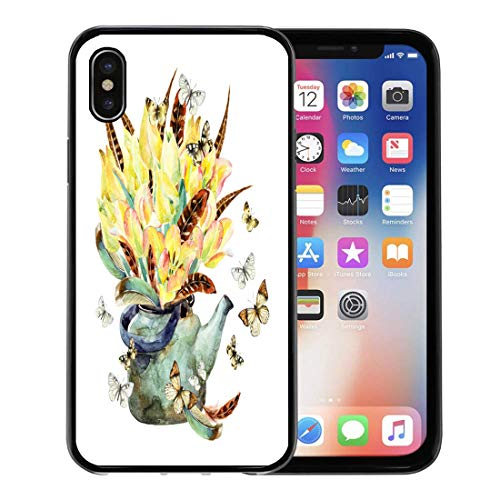 - Emvency Phone Case for Apple iPhone Xs Case/iPhone X Case,Watercolor Floral Garden Tulips Feathers Butterfly and Teapot Romantic Soft Rubber Border Decorative, Black