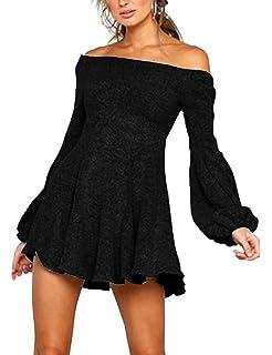 c4b315db9649 Haola Womens Sexy Off Shoulder Dress Casual Loose Long Sleeve Swing Club  Dress