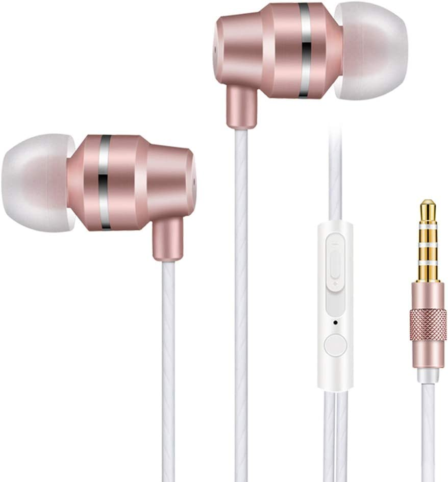 Vost in Ear Headphones Wired Earphones Noise Cancelling Earbuds Bass Headsets with Microphone for Sports Running Gym Exercise Jogging Rose