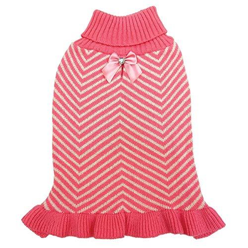 Fashion Pet Stripes & Ruffles Dog Sweater - Pink (20 Pack)