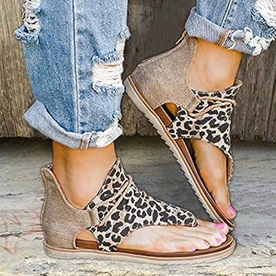 Sandals for Women Flat, Comfy Sandals Ladies Casual Ankle Strap Flat Sandals Summer Beach Vocation Travel Flip Flop Shoes: Clothing