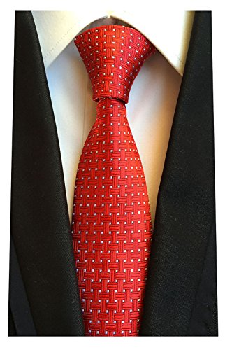 MENDENG Red Woven Jacquard Silk Men's Suits Ties Necktie -