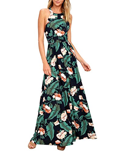 Blooming Jelly Women's Tropical Sleeveless Halter Neck Criss Cross Backless Floral Print Maxi Dress(M,Leaf Print) (Print Dress Tropical Womens)