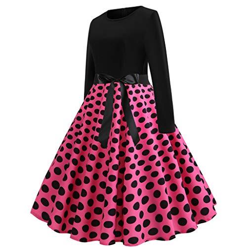 Anni Caldo Manica Lungo Rosa Collo Vestito 50 Abiti Vestiti Cerimonia Prom Party Stampa Dress Elegante Donna Swing O wZfYTZ