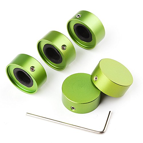 Vangoa- Foot Nail Cap Protection Cap for Guitar Effect Pedal with Wrench 5Pcs (green)