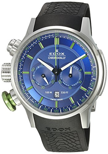 Edox-Mens-Chronorally-Swiss-Quartz-Stainless-Steel-and-Rubber-Sport-Watch-ColorBlack-Model-10302-3V2-BUV3