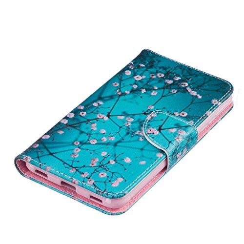 Trumpshop Smartphone Carcasa Funda Protección para Huawei Honor 6C + Lirio + PU Cuero Caja Protector Billetera con Cierre magnético [No compatible con Honor 6A y 6X] Flor de ciruelo