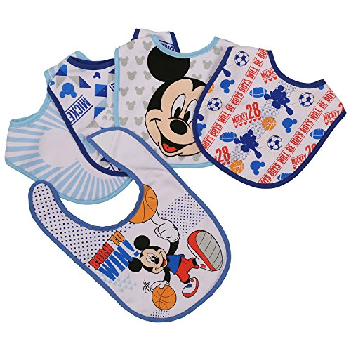 - Disney Mickey Mouse 5 Piece Bibs, Born to Win, Blue