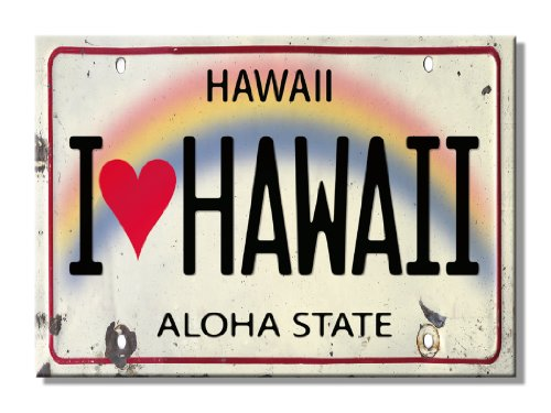 - Pacifica Island Art Refrigerator Magnet - I Heart Love Hawaii License Plate