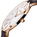 Brown Leather Watch Men,Thin Watches for Men,White Dial Men Watches,Slim Simple Watch Rose Gold Watch for Men, Water Resistant Analog Business Classic Wrist watch,Men Leather Watches on Sale Clearance