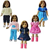 ZITA ELEMENT American Girl Doll Clothes- 5 Party Daily Outfits, fits 18 inch Doll Clothes for Christmas