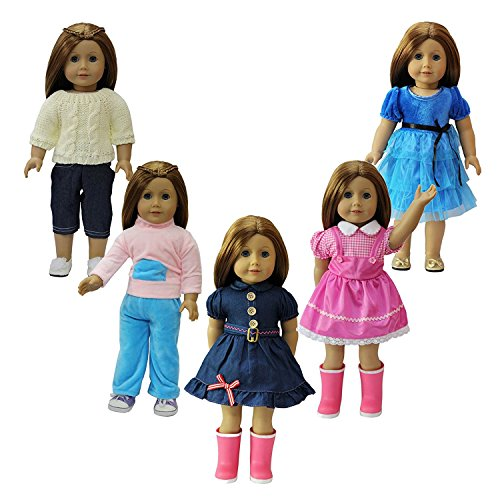 ZITA ELEMENT American Girl Doll Clothes- 5 Party Daily Outfits, fits 18 inch Doll Clothes for (Yellow Heart Doll Shoes)