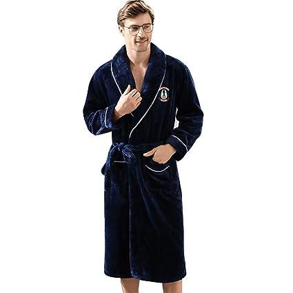 Meng Wei Shop Camisón de los Hombres Invierno Espesar Batas de Franela Pijamas Calientes de los