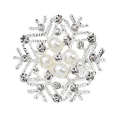 [Crystal Pearl Snowflake Brooch Pins Wedding Christmas Gift Costume Shirt Decor Broach Xmas for Women] (Mom Dad And Child Halloween Costumes)