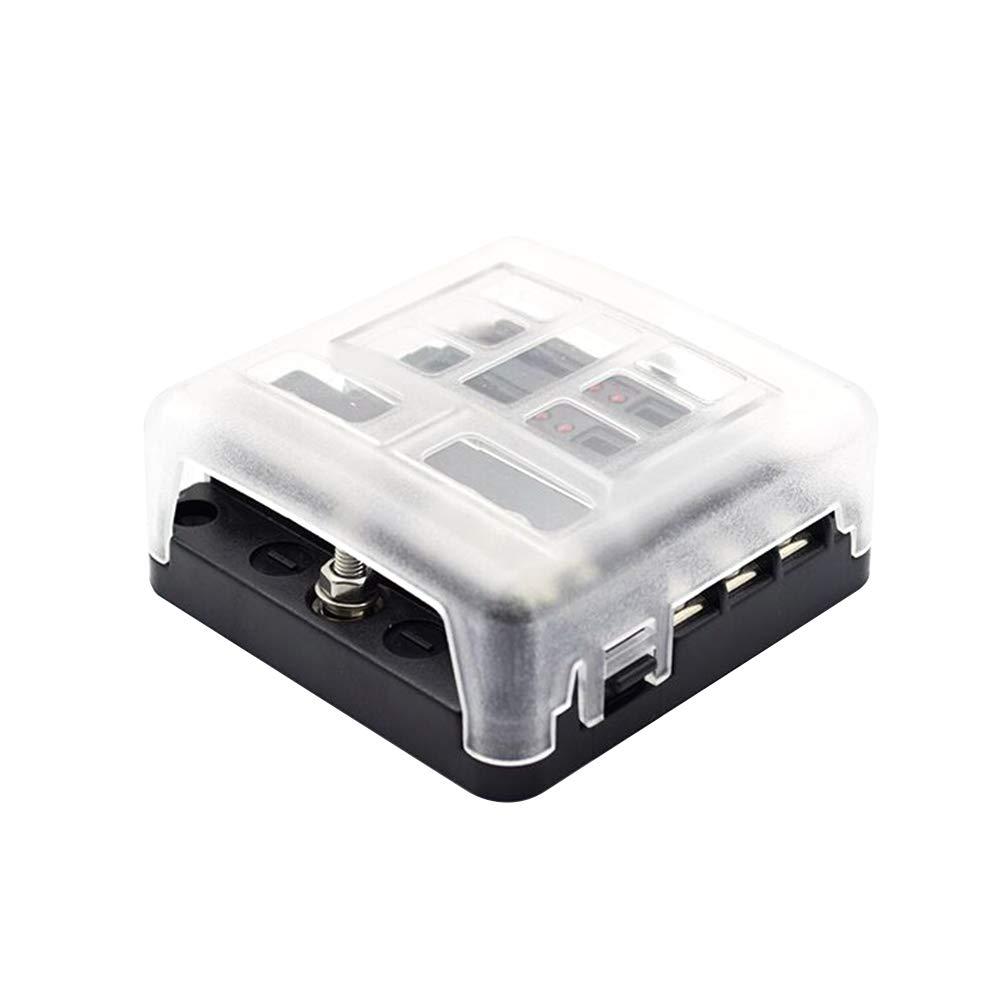 Portafusibles Universal Autom/ática de 6 V/ías ATC//ATO con Cubierta de PC Accesorios con LED para Autom/óvil KKmoon Caja de Fusibles