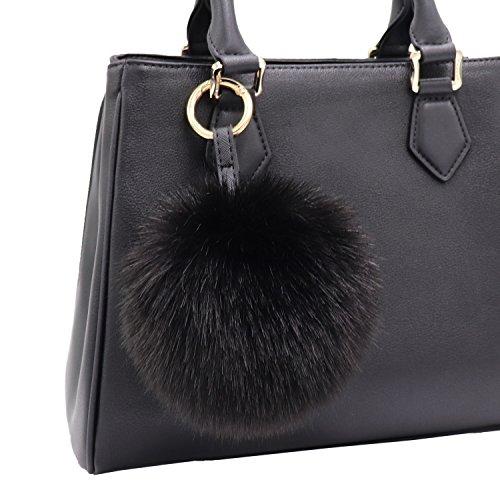 - Aiphamy Faux Fur Pom Pom Keychain Purse Bag Charm Fluffy Ball Key Chain for Women (Black)