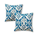 Greendale Home Fashions 17'' Outdoor Accent Pillows in Coastal Ikat (Set of 2), Seaside