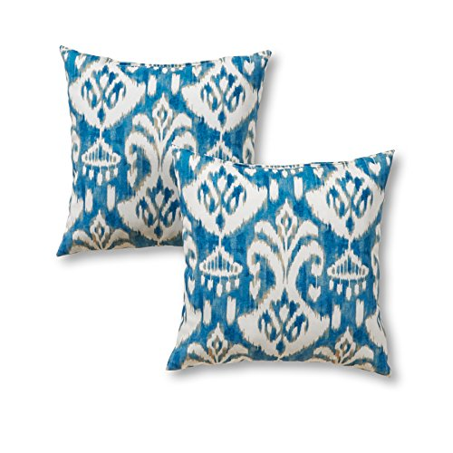Greendale Home Fashions 17'' Outdoor Accent Pillows in Coastal Ikat (Set of 2), Seaside by Greendale Home Fashions