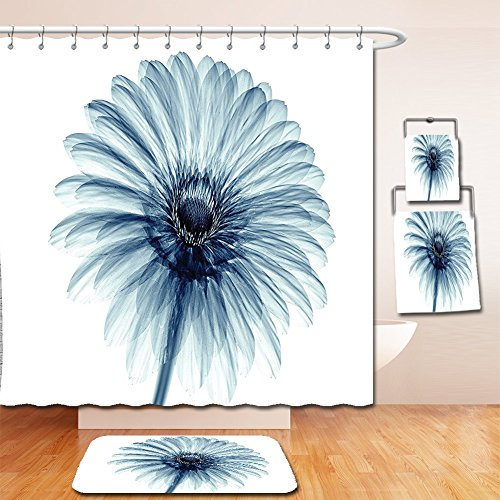 Nalahome Bath Suit: Showercurtain Bathrug Bathtowel Handtowel Xray Flower Decor Photo of a Daisy Flower with X-rays Different Look to the Plants in Nature Art Print Teal White