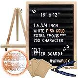 WIWAPLEX Black Felt Letter Board, Word Board Sign, 16 x 12 inch Changeable Letter Board with 730 Plastic Message Board Letters Numbers Symbols Emoji, Wooden Tripod Stand, Scissors, 3 Free Storage Bags