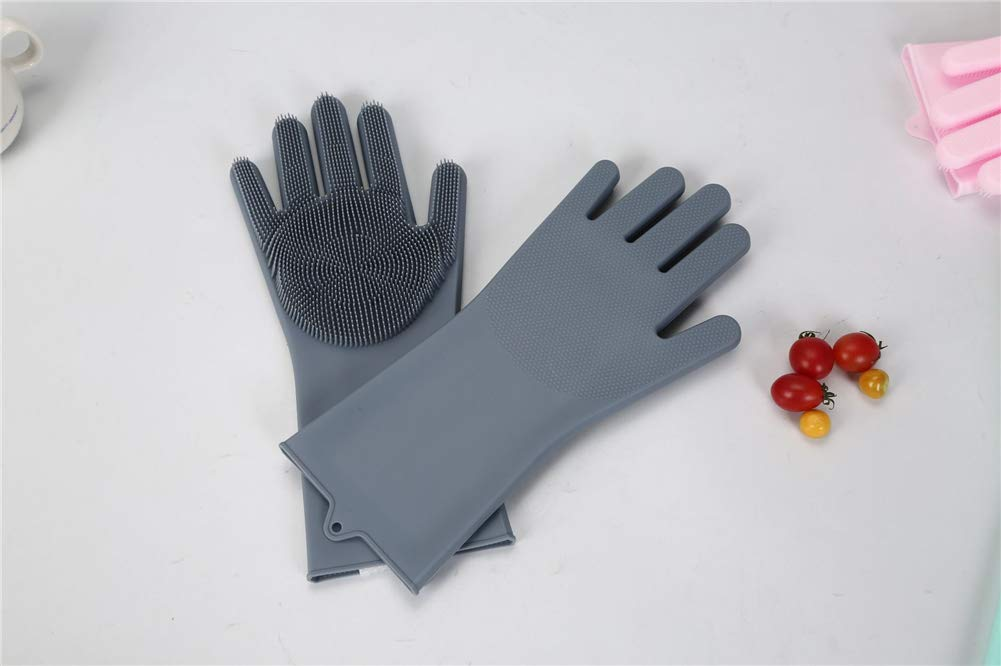 1 pair Food grade silicone Multi-purpose Lazy dishwashing gloves Thick durable convenient scrub brush Cleaning tools for home kangxiaoyan