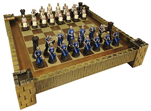 Medieval Times Crusades Warrior WHITE & BLUE Chess Set Hand Painted w/ 17 1/2