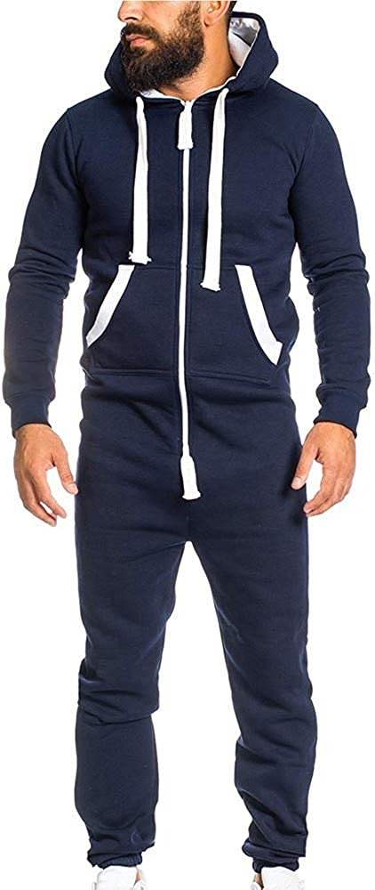 TUSANG Mens Winter Unisex Jumpsuit One-Piece Garment Non Footed Pajama Playsuit Blouse Hoodie