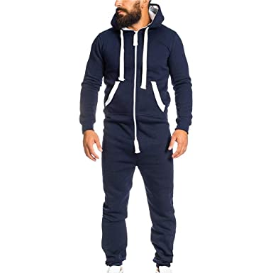 mens-fashion-onesie-jumpsuit-one-piece-non-footed-pajamas-unisex-adult-hooded-overall-zip-up-playsuit-christmas-romper-(navy,-m) by mayunn