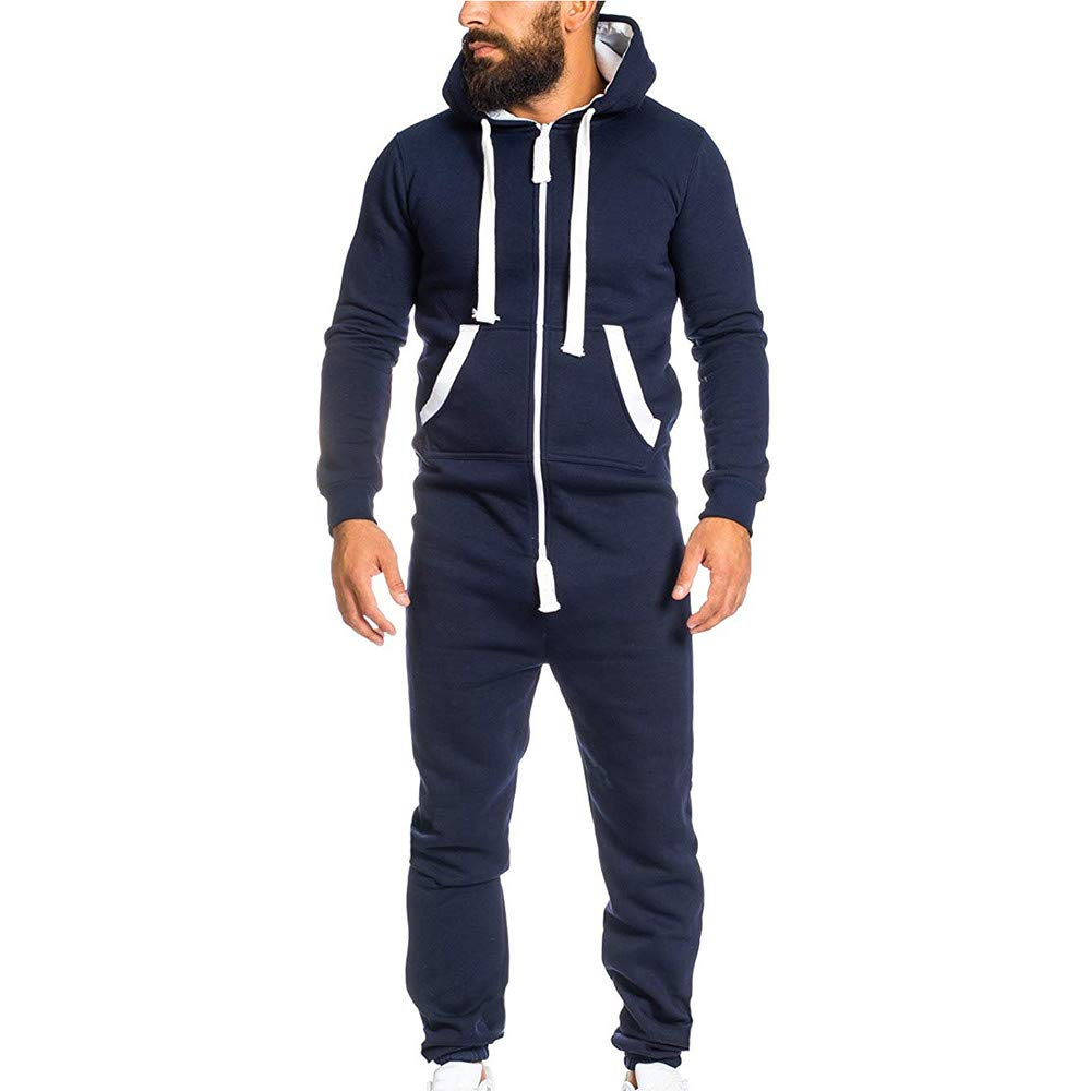 Emerayo Unisex Jumpsuit Men's Solid Color Zipped Chest Pocket Hooded Jumpsuit Autumn Winter Warm Romper with Hood