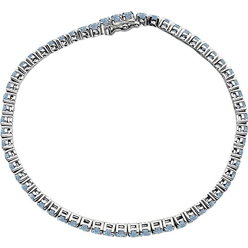 Jewels By Lux 14k White Gold Aquamarine Line 7.25