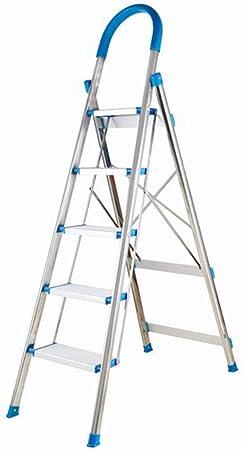 TIZI000 Escalera Plegable de 4 peldaños/5 peldaños, Plataforma Ancha escalones de Aluminio Ligero, Multiusos, portátil, 330 Libras para Interiores y Exteriores, 5: Amazon.es: Hogar