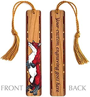 product image for Personalized Fox Art by Kathleen Barsness, Colorful Wooden Bookmark with Tassel - Search B076MLJC42 for Non-Personalized Version