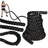 SUPER DEAL Black 1.5' Poly Dacron 30ft Battle Rope Workout Training Undulation Rope Fitness Rope...