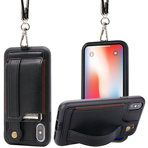 new arrival 38193 28493 Details about IPhone X/Xs Wallet Case Lanyard Neck Strap TOOVREN 10  Protective Cover With PU