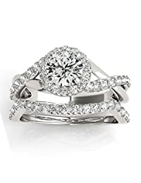 Diamond Twisted Halo Engagement Ring Setting and Band Palladium 0.53ct (No center stone included)
