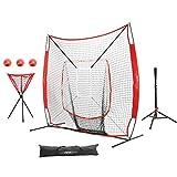 Pinty Baseball Softball Practice Net 7×7 Hitting Batting Net w/Strick Zone Target + Baseball Softball Batting Tee + Ball Caddy + Weighted Training Balls & Carry Bag