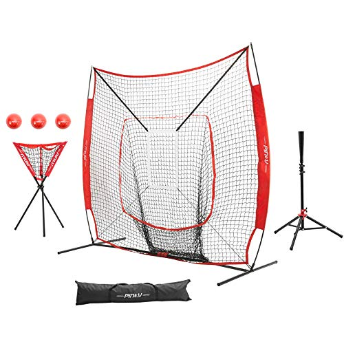 Pinty Baseball and Softball Practice Net 7×7 ft Hitting Batting Net with Strike Zone Target, Baseball Softball Batting Tee, Ball Caddy and Weighted Training Balls