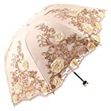 Cheap Honeystore Sun Protection Vintage Lace Parasol Decorative Umbrellas for Wedding 3 Folded Yellow