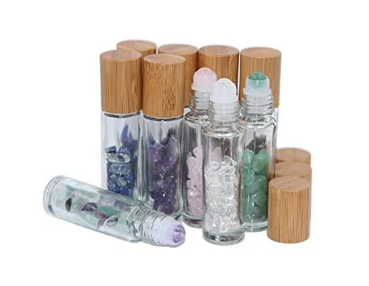 10ml Roll On Bottle With Gemstone Rollerball&Crystal Chips Inside,10 Packs Glass Roller Bottles Essential Oil Sample Bottles(Bamboo Lids)